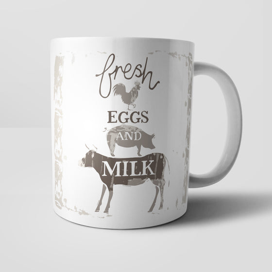 Fresh Eggs And Milk Mug by Vicky Yorke Designs