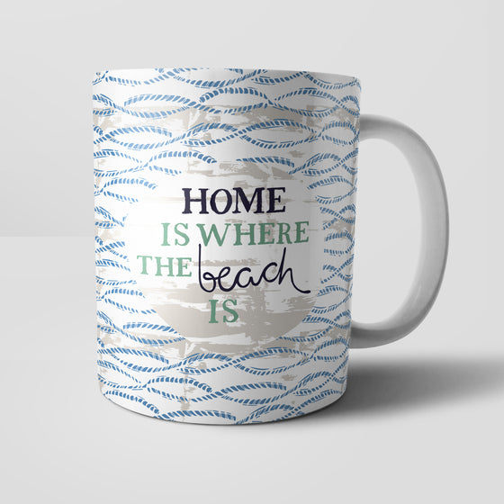 Home Is Where The Beach Is Mug by Vicky Yorke Designs