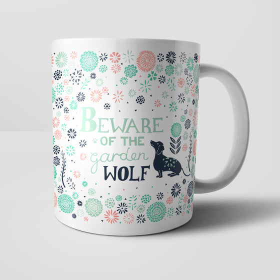 Beware Of The Garden Wolf Mug by Vicky Yorke Designs