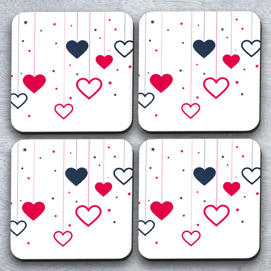 New* Dropping Hearts x4 Coaster set