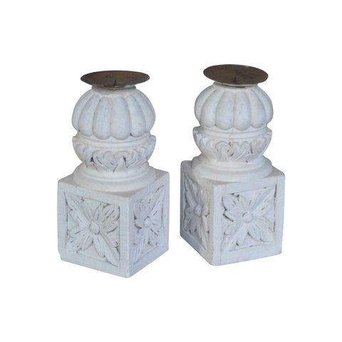 XL Carved Pillar Candle Holder