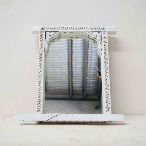Vintage White Indian Mirror
