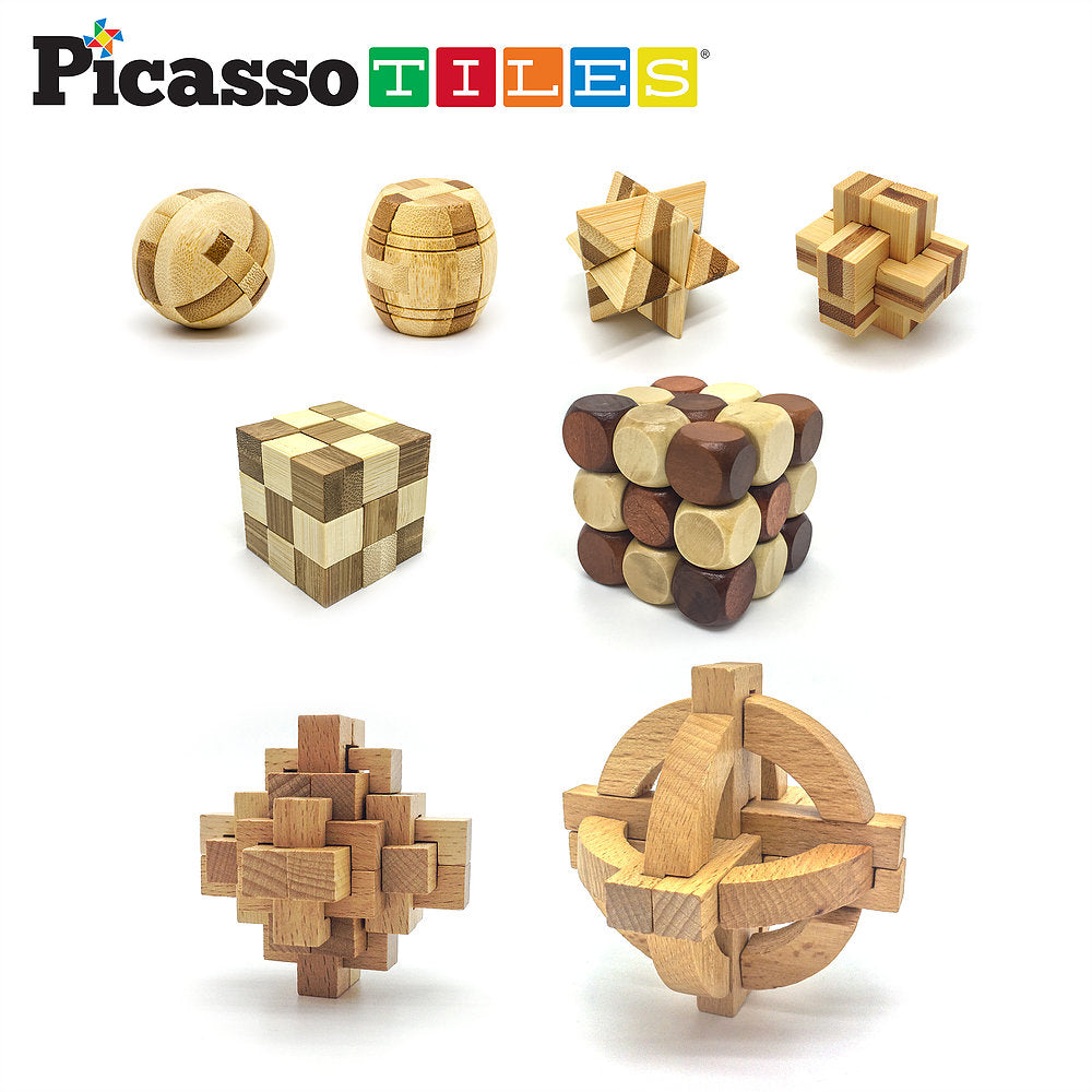 8 Styles Educational Handmade Wooden Burr Puzzle Set