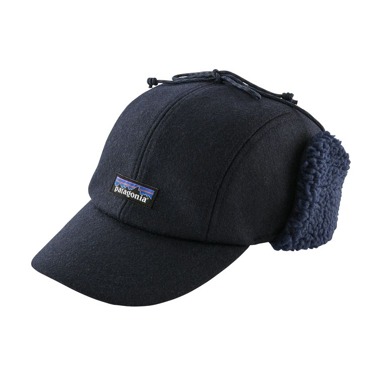 PATAGONIA RECYCLED WOOL EAR FLAP CAP - NAVY
