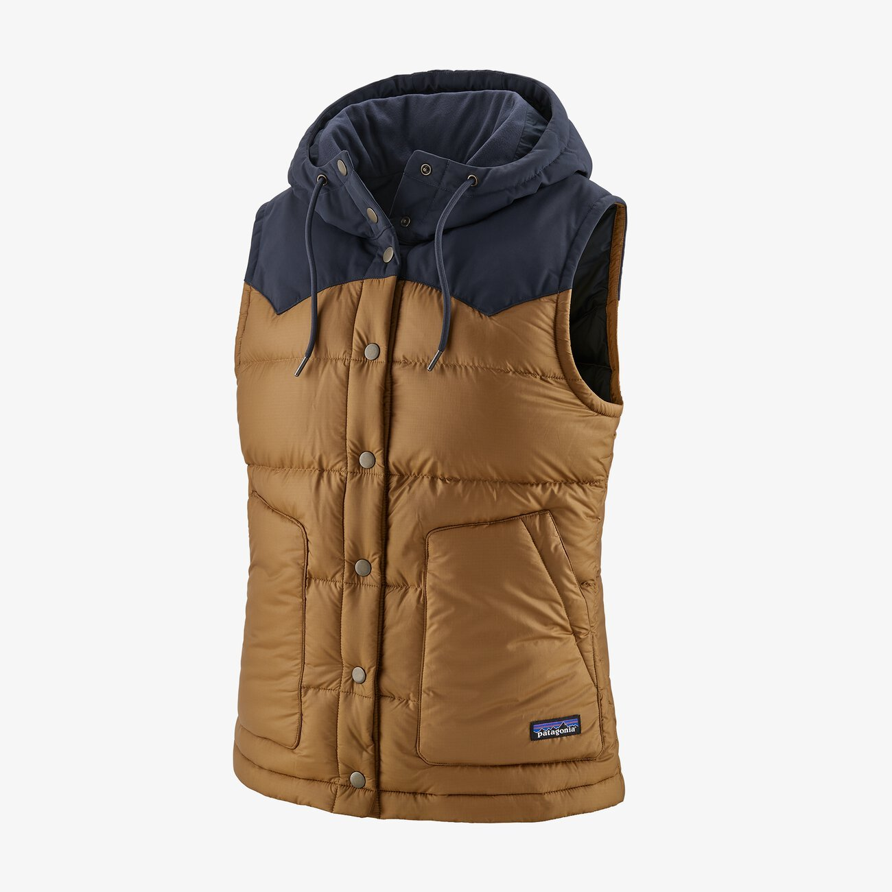 PATAGONIA HOODED BIVY VEST- DAME- NEST BROWN