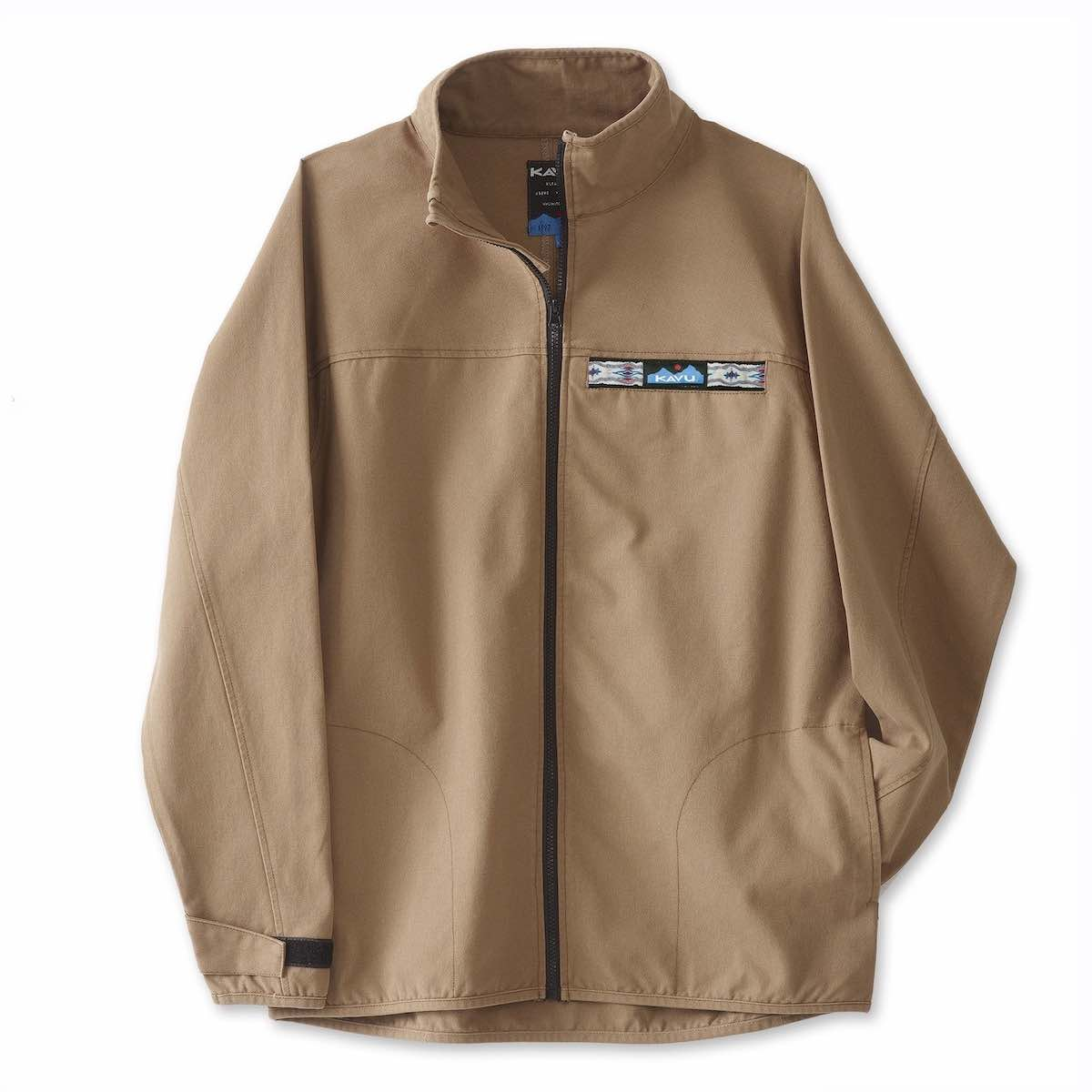 KAVU FULL ZIP THROWSHIRT- HERRE - KHAKI