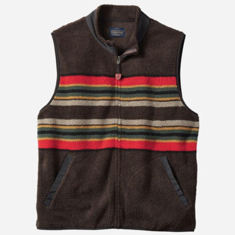 PENDLETON CAMP STRIPE FLEECE VEST - HERRE