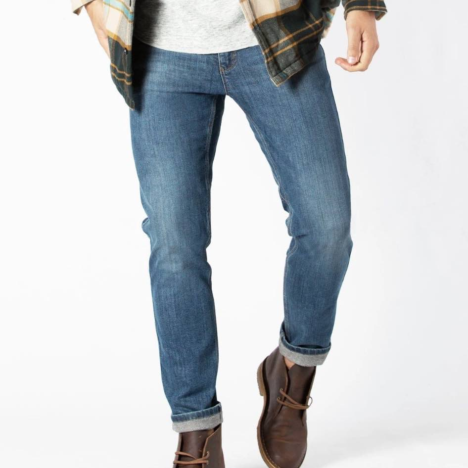 DUER SLIM FIT FIRESIDE - JEANS MED FLEECE - HERRE