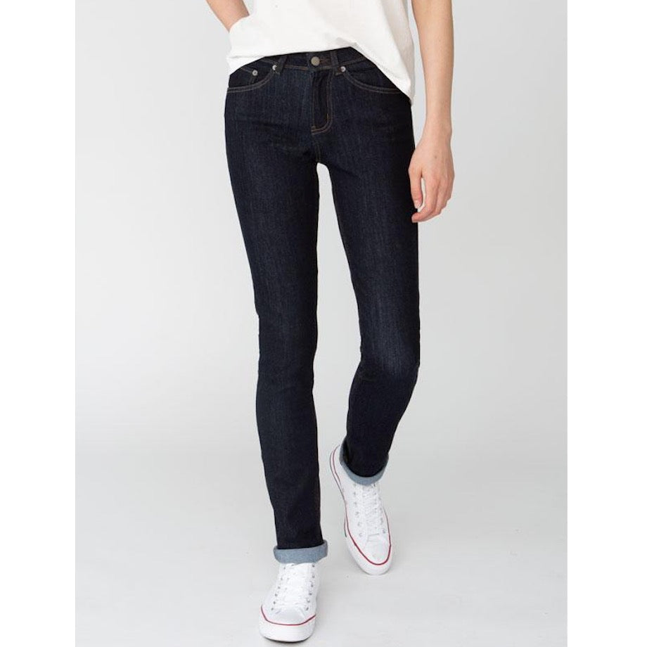 DUER SLIM STRAIGHT MID RISE PERFORMANCE JEANS - DARK STONE - DAME