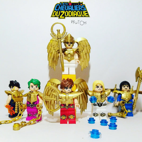 Saint Seiya Les Chevaliers du Zodiaque - Lot de 6 Minifigurines Saint Seiya Or compatible lego