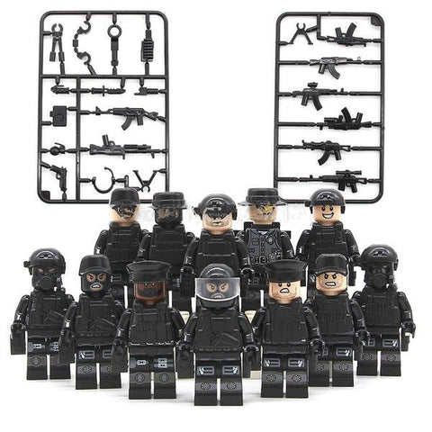 SWAT - Lot de 12 Minifigures SWAT avec armes compatible lego
