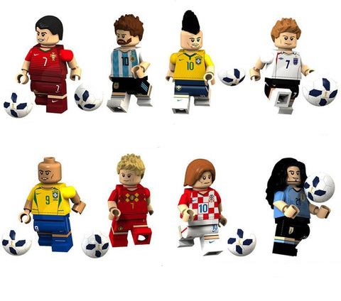 Football - Lot de 8 minifigurines Football compatible briques