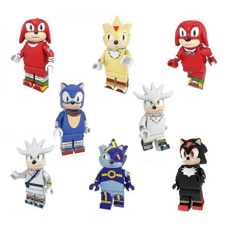 Sonic - Lot de 8 minifigurines Sonic compatible briques