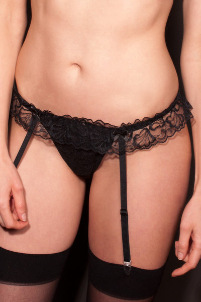 Black Suspender & G-String one-piece set
