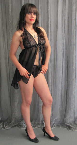 Black Ribbon Tie Front Babydoll Nightie