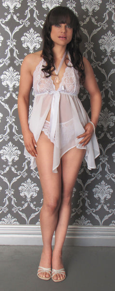 f8e317f947d White Ribbon Tie Front Babydoll Nightie – Moonlight lingerie shop