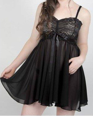Black Chiffon & Lace Babydoll Nightie