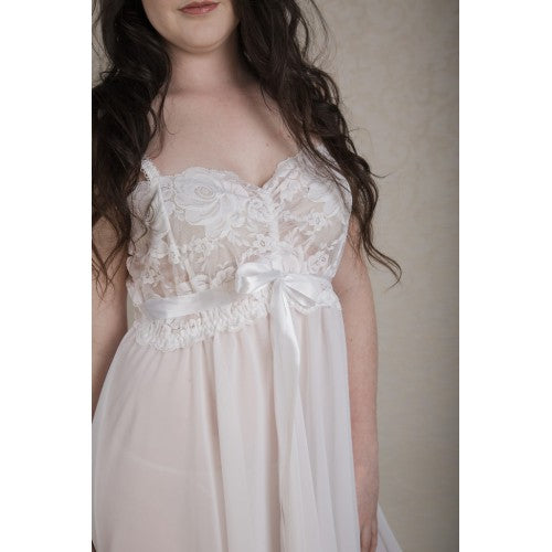 White Chiffon & Lace Babydoll Nightie