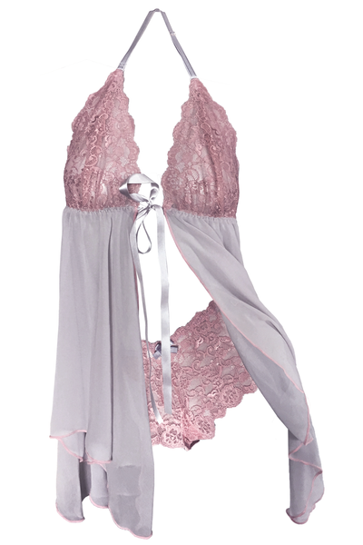 Blush-Pink Babydoll and Boyshort Set