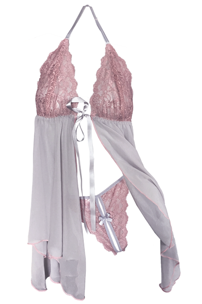 Blush-Pink Babydoll and Split G-string Set