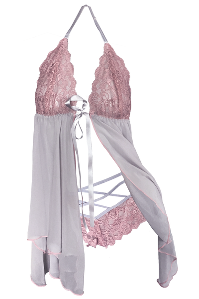 Blush-Pink Babydoll and Crisscross Brief Set