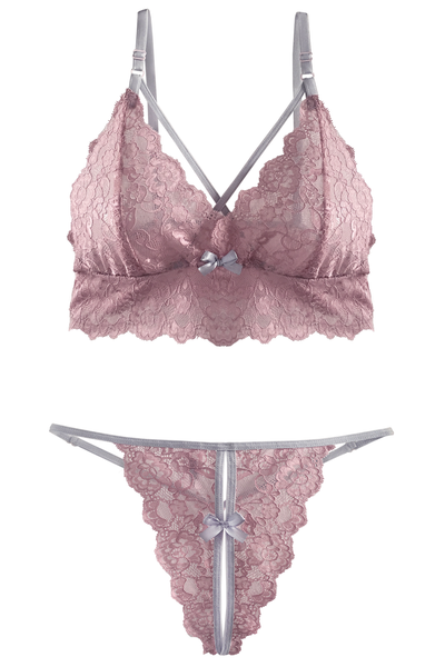 Blush-Pink Bralette and Split G-string Set