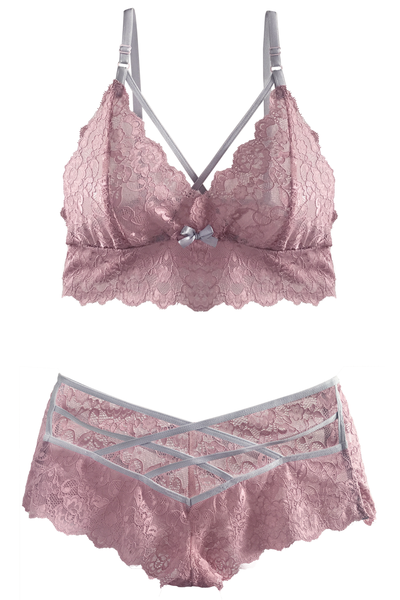 Blush-Pink Bralette and Crisscross Brief Set