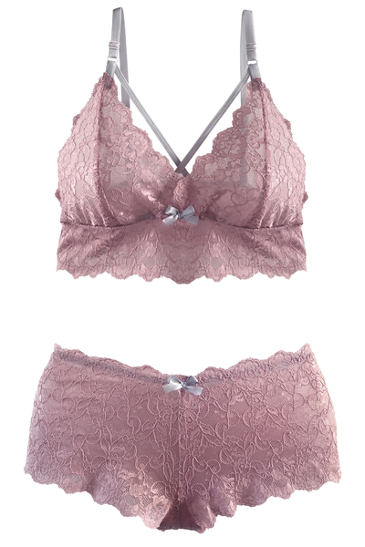 Blush-Pink Bralette and Boyshort Set