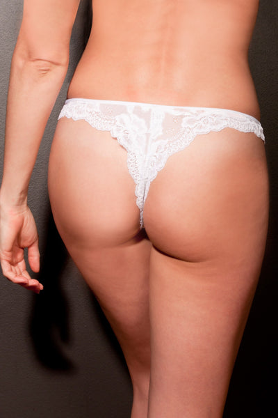 White Stretch Lace Thong