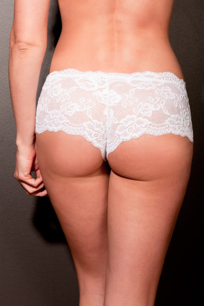 White Stretch Lace French Pantie