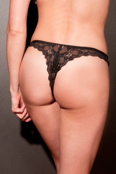 Black Stretch Lace Thong