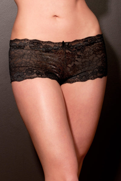 Black Stretch Lace French Pantie