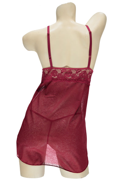 Red Open Cup Chemise & G-String Set