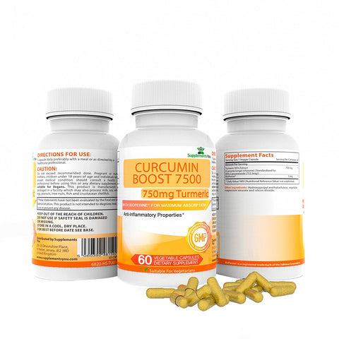 CURCUMIN BOOST 7500 Advanced with added bioperine - Fight against Inflammation!