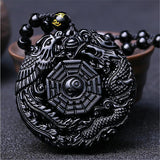 Black Obsidian Stone Phoenix & Dragon Pendant Necklace - Empire of the Gods