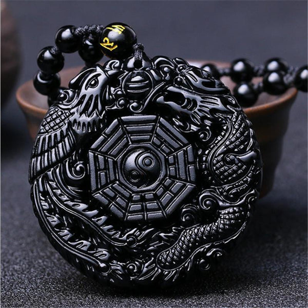 Obsidian Phoenix & Dragon Necklace - Empire of the Gods