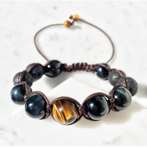 Blue Tiger Eye & Lava Bracelet - Empire of the Gods