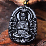 Black Obsidian Carved Thousand Hands Of Guanyin Buddha Necklace - Empire of the Gods