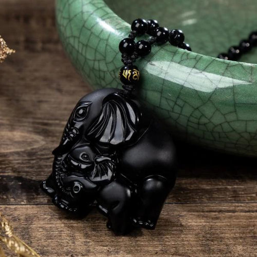 Obsidian Elephants Necklace - Empire of the Gods