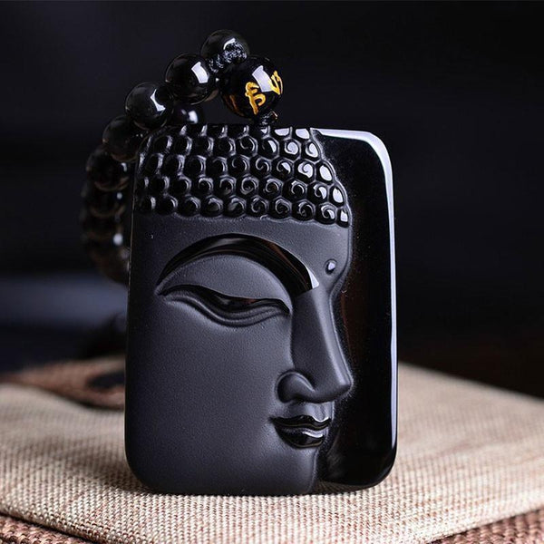 Black Natural Obsidian Buddha Head Pendant Necklace - Empire of the Gods