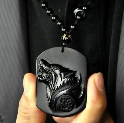 Obsidian Wolf Necklace - Empire of the Gods