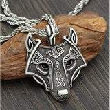Norse Wolf Head Pendant Necklace