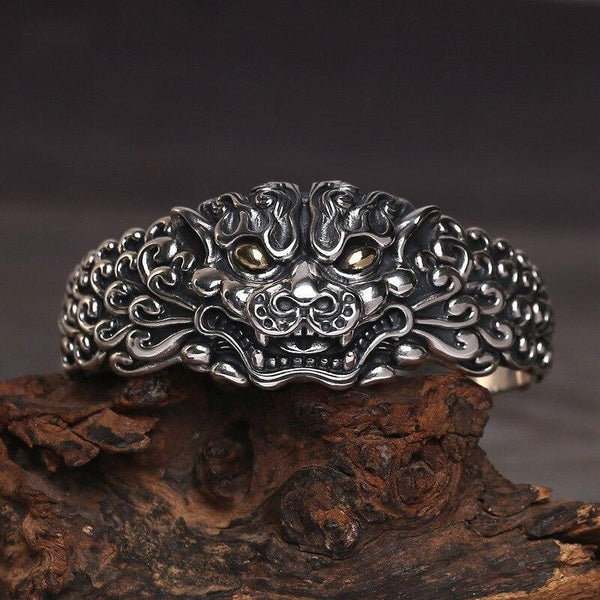 925 Sterling Silver Foo Dog Guardian Bangle - Empire of the Gods