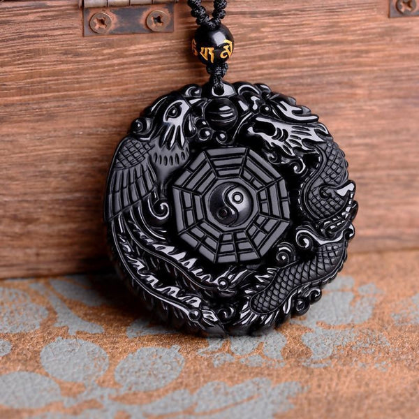 Black Obsidian Stone Phoenix & Dragon Pendant Necklace