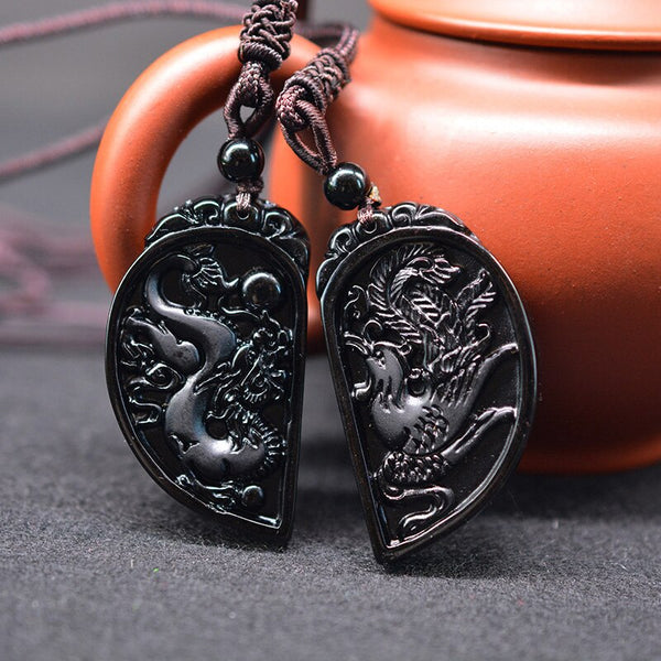 Obsidian Dragon & Phoenix Love Pendants - Empire of the Gods