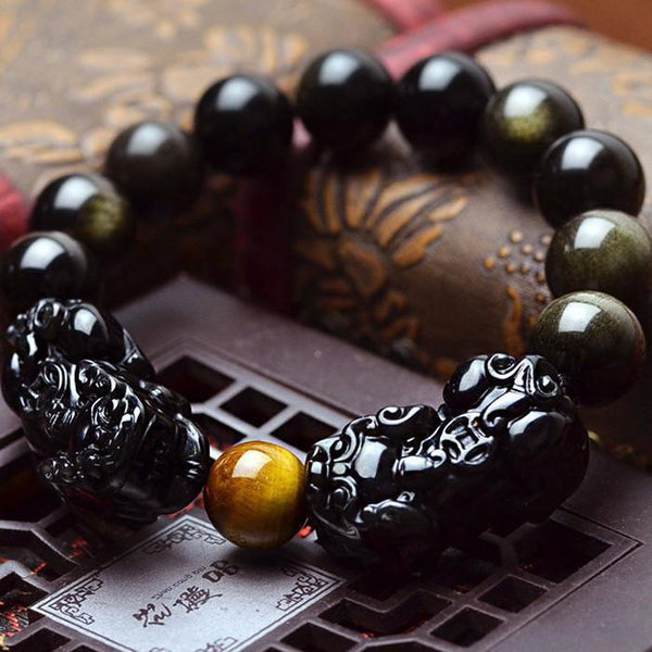 Obsidian Stone Carved PIXIU Beads Bracelet - Empire of the Gods