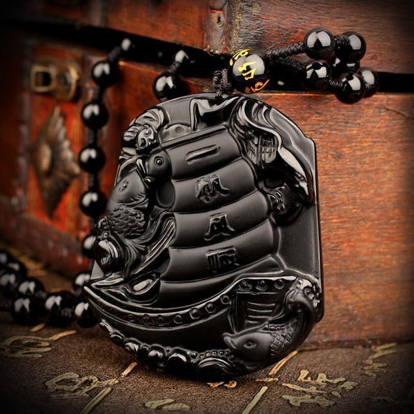 Obsidian Japanese Ship Necklace - Empire of the Gods