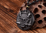 Obsidian Foo Dog Guardian Necklace - Empire of the Gods