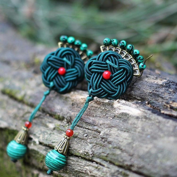 Handmade Knitted Peacock Earrings - Empire of the Gods