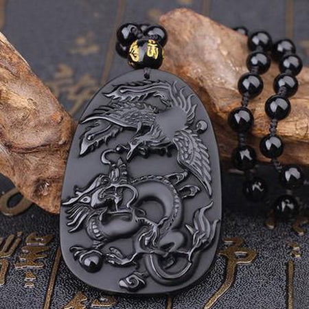 Obsidian Tiny Foo Dog Guardian Necklace